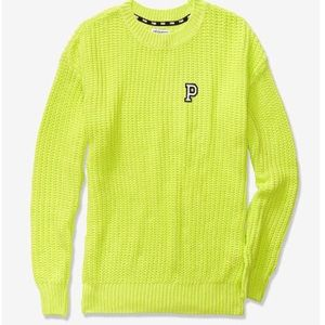 VS PINK Heritage Chunky Knit Sweater M neon citrus
